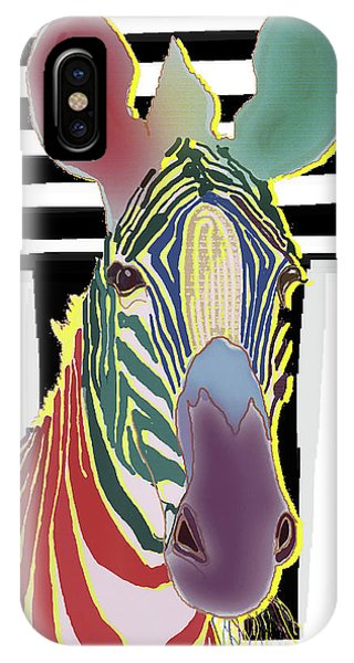 IPhone Case featuring the digital art A Different Zebra by Teresa Epps