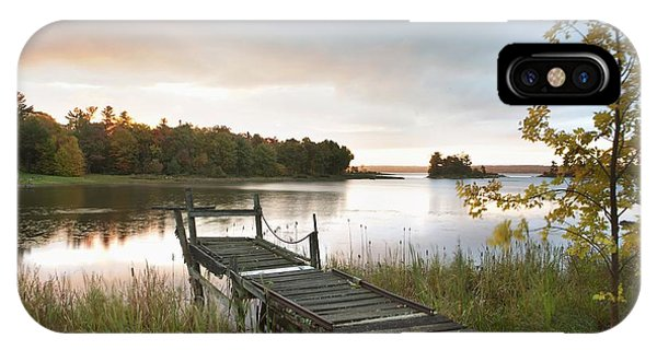 A Dock On A Lake At Sunrise Near Wawa IPhone Case