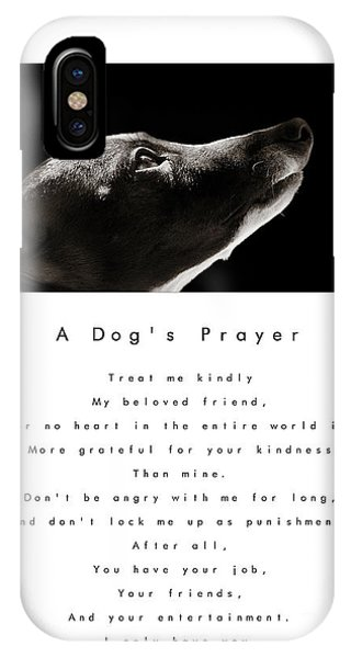 A Dog's Prayer In White  A Popular Inspirational Portrait And Poem Featuring An Italian Greyhound IPhone Case