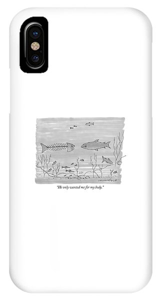 Bone iPhone Case - A Fish Skeleton With A Head Speaks To Another by Michael Crawford