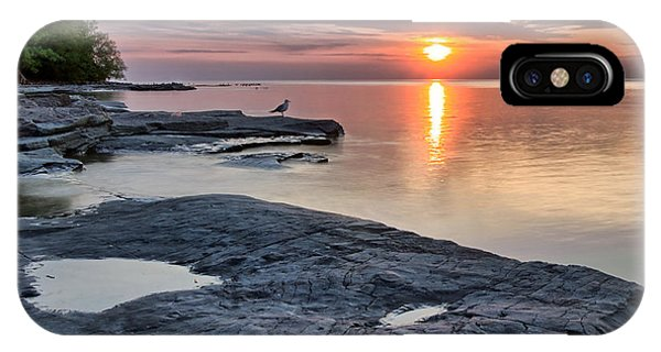 A Flat Rock Sunset With Seagull IPhone Case