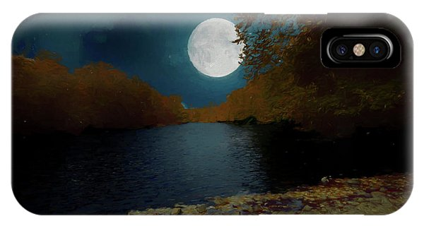 A Full Moon On A River. IPhone Case