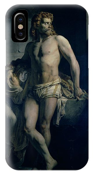 Dungeon iPhone Case - A Gaul And His Daughter Imprisoned In Rome by Felix-Joseph Barrias