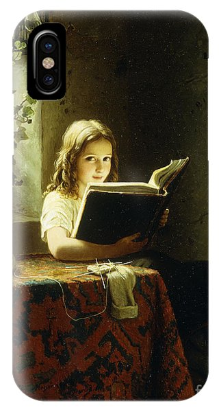 Relaxation iPhone Case - A Girl Reading by Johann Georg Meyer
