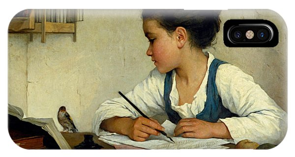 A Girl Writing. The Pet Goldfinch IPhone Case