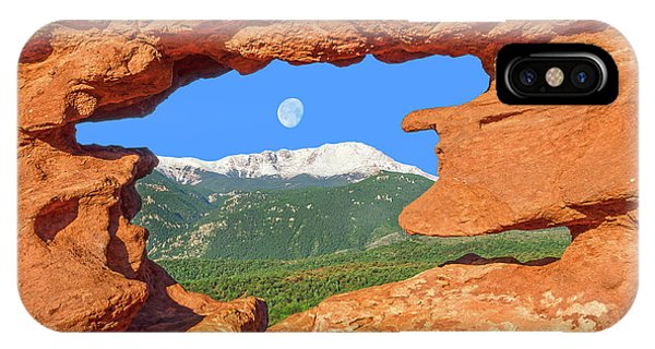 A Glimpse Of The Mighty Rockies Through A Rocky Window  IPhone Case