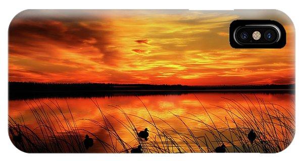A Golden Sunrise Duck Hunt IPhone Case