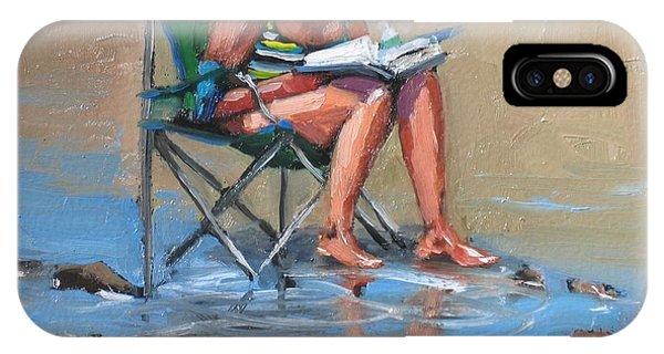Beach Chair iPhone Case - A Good Read by Laura Lee Zanghetti