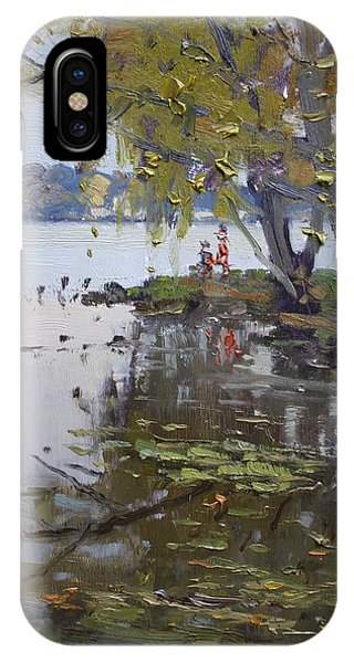 Waterscape iPhone Case - A Gray Rainy Day At Fishermans Park by Ylli Haruni
