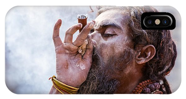 A Hindu Sadhu Smoking A Hash Pipe - India. IPhone Case