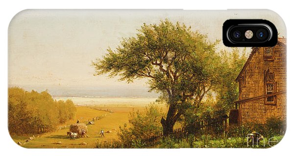 New England Barn iPhone Case -  A Home By The Seaside by Thomas Worthington Whittredge
