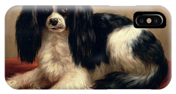 King Charles iPhone Case - A King Charles Spaniel Seated On A Red Cushion by Eugene Joseph Verboeckhoven