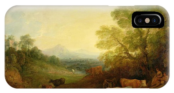 Distant iPhone Case - A Landscape With Cattle And Figures By A Stream And A Distant Bridge by Thomas Gainsborough