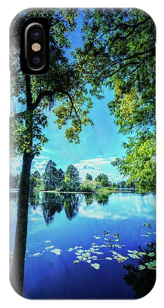 Bald Cypress iPhone Case - A Line Of Blue by Marvin Spates