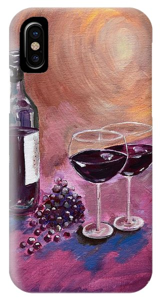 A Little Wine On My Canvas - Wine - Grapes IPhone Case
