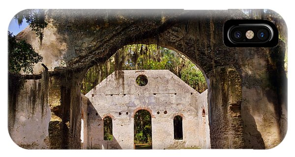 IPhone Case featuring the photograph A Look Into The Chapel Of Ease St. Helena Island Beaufort Sc by Lisa Wooten