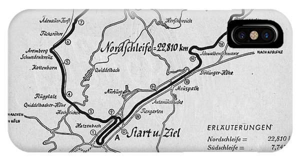 A Map Of The Nurburgring Circuit IPhone Case