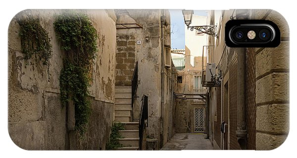 A Marble Staircase To Nowhere - Tiny Italian Lane In Syracuse Sicily IPhone Case