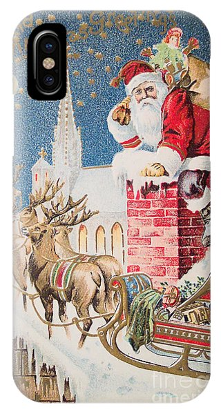 A Merry Christmas Vintage Greetings From Santa Claus And His Raindeer IPhone Case