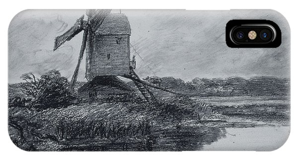 A Mill On The Banks Of The River Stour Charcoal On Paper IPhone Case