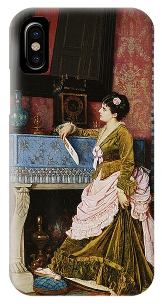 Deep Thought iPhone Case - A Moments Reflection by Auguste Toulmouche