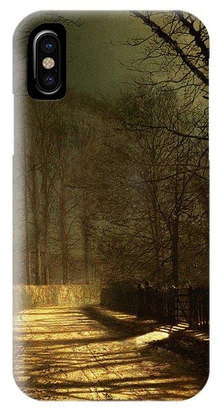 Road iPhone Case - A Moonlit Lane by John Atkinson Grimshaw