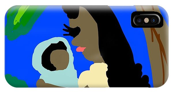 The Art Of Gandy iPhone Case - A Mother Provides Universal Love by Joan Ellen Gandy of The Art Of Gandy