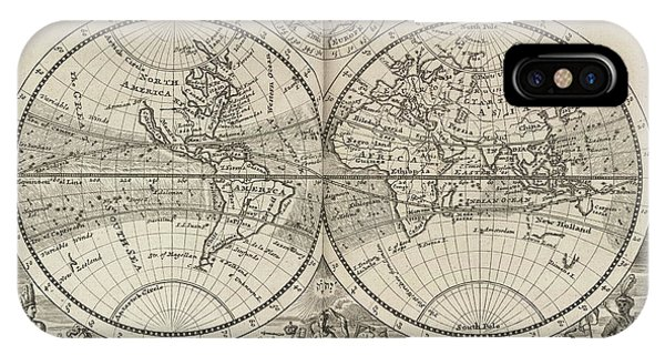 A New Map Of The Whole World With Trade Winds Herman Moll 1732 IPhone Case