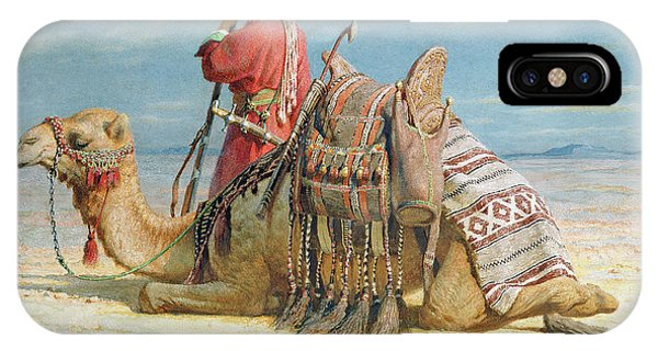 Costumed Figures In Landscape iPhone Case - A Nomad And His Camel Resting In The Desert by Carl Haag