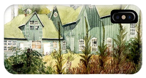 Watercolor Of An Old Wooden Barn Painted Green With Silo In The Sun IPhone Case