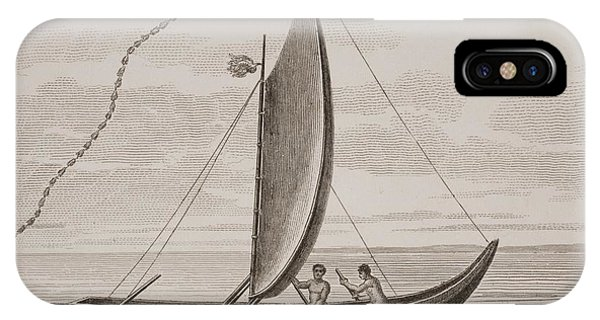 Pacific Ocean iPhone Case - A Pahie. A Tahitian Boat. From A Print by Vintage Design Pics