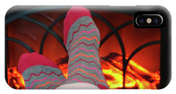 Pajama iPhone X Case - A Pair Of Feet And A Cozy Fire by Derrick Neill