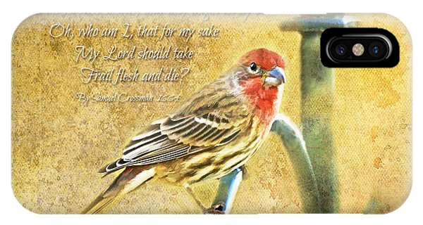 A Pair Of Housefinches With Verse Part 2 - Digital Paint IPhone Case