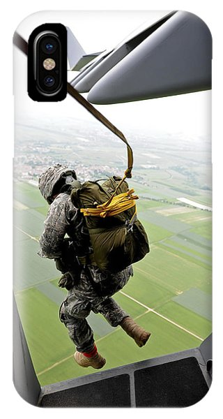 A Paratrooper Executes An Airborne Jump IPhone Case