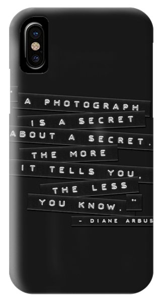 IPhone Case featuring the photograph A Photograph Is A Secret Embossed Labels by Brian Carson