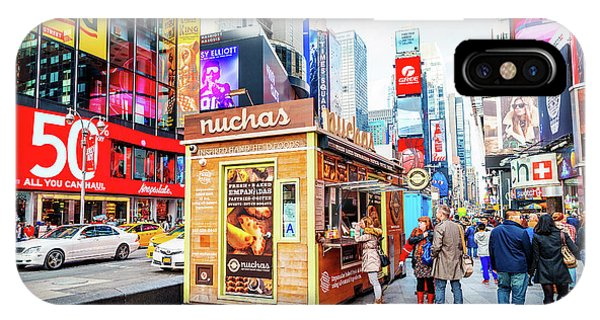 A Portable Food Stand In New York Times Square IPhone Case