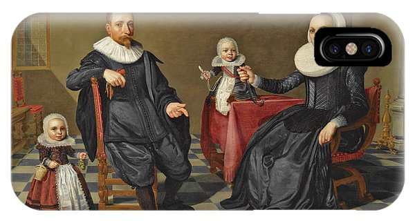 Table For Two iPhone Case - A Portrait Of A Gentleman And His Wife Seated At A Table With Their Two Young Children by Jan Daemen Cool