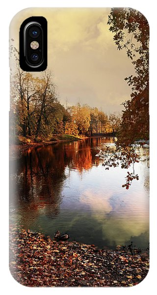 a quiet evening in a city Park painted in bright colors of autumn IPhone Case