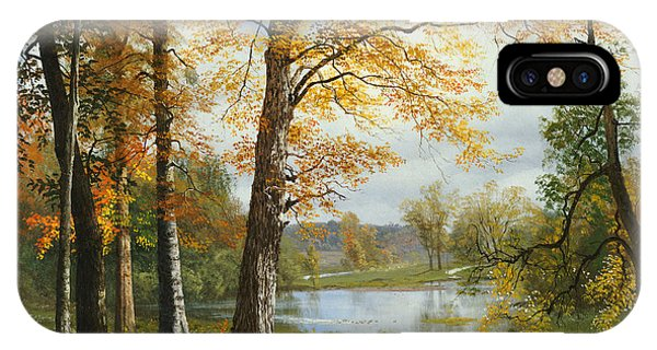 Meditative iPhone Case - A Quiet Lake by Albert Bierstadt