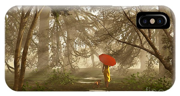 A Quiet Walk After A Rainy Day IPhone Case