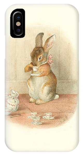 IPhone Case featuring the painting A Rabbit's Tea Party by Beatrix Potter