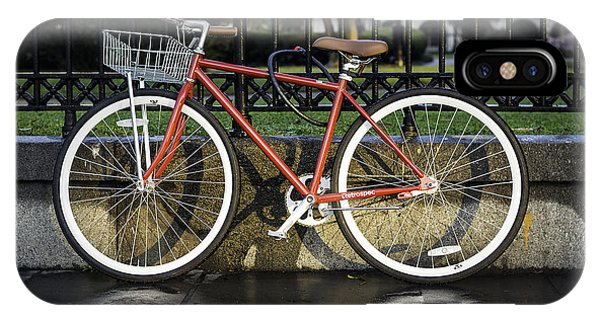 A Red Bicycle Near Jackson Square, New Orleans, Louisian IPhone Case