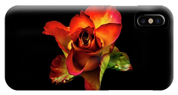 A Red Rose On Black IPhone Case