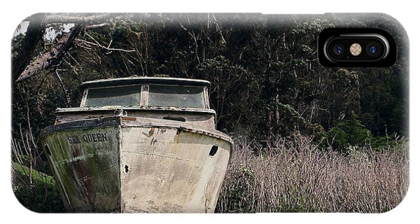A Retired Old Fishing Boat On Dry Land In Bodega Bay IPhone Case