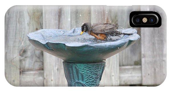 A Robin Bathing IPhone Case