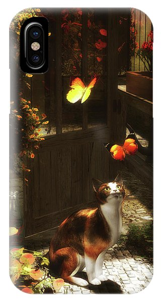 A Romantic Cat Loves Butterflies IPhone Case