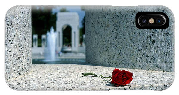 iPhone Case - A Rose Memento At The World War II Memorial In Washington Dc by William Kuta