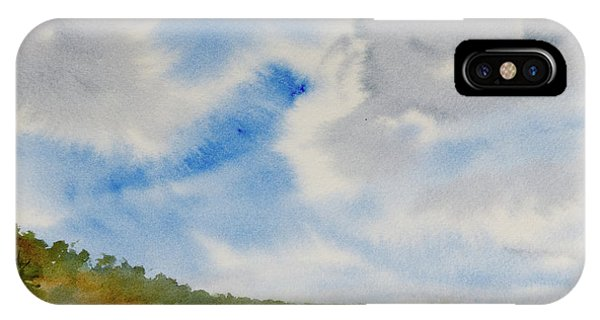 A Secluded Inlet Beneath Billowing Clouds IPhone Case