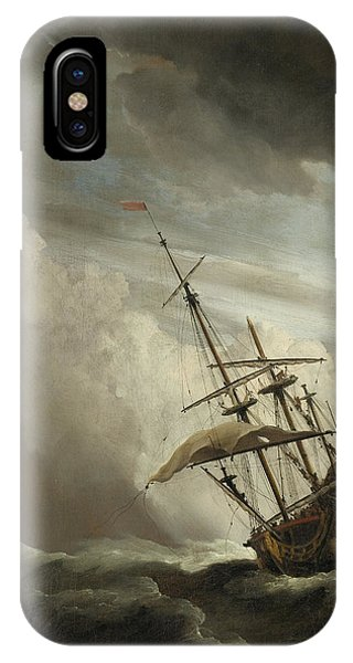 A Ship On The High Seas Caught By A Squall IPhone Case