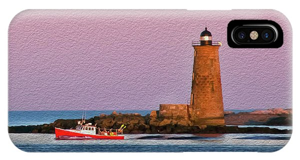 A Ship Passes The Super Moon And Whaleback IPhone Case